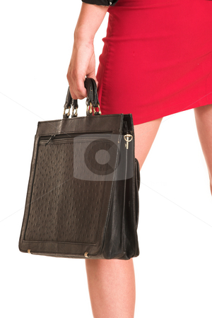 Business Woman #9 stock photo, Business woman dressed in a black shirt and red skirt.  Holding a leather suitcase by Sean Nel