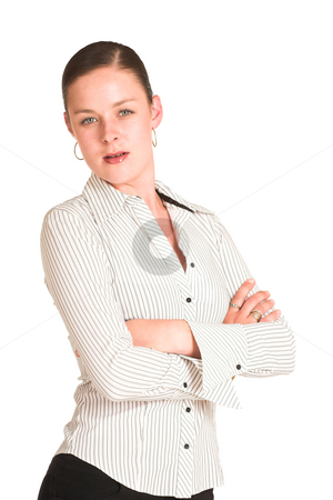 Charmaine Shoultz #22 stock photo, Business woman dressed in a white pinstripe shirt. by Sean Nel