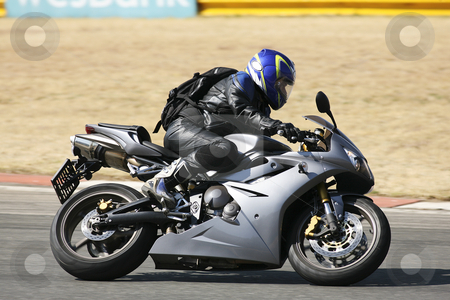 Superbike #90 stock photo, High speed Superbike on the circuit  by Sean Nel