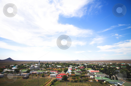 Blue sky over a dry desert town stock photo, Blue sky with dramatic clouds over a desert town landscape, Hanover, South Africa by Sean Nel