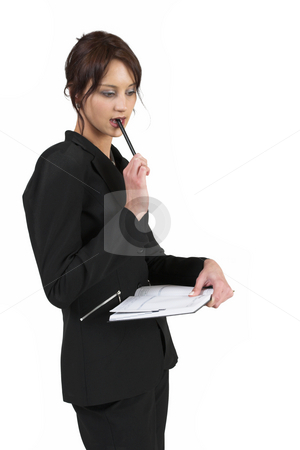 Luzaan Roodt #25 stock photo, Business woman in formal black suit standing, holding pen and diary - looking down by Sean Nel