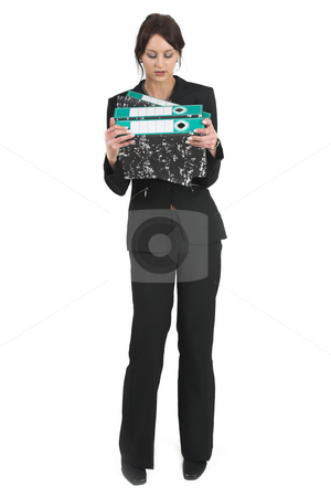 Businesslady #76 stock photo, Dark haired business woman with Lever arch files - Looking Down by Sean Nel