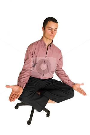 Business Yoga #186 stock photo, Business man fighting tension / relaxing / meditating by Sean Nel