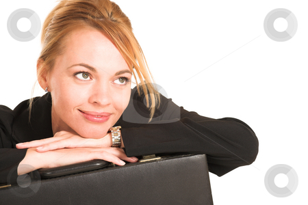 Businesswoman #256 stock photo, Blonde business lady in formal black suit. Copy Space by Sean Nel