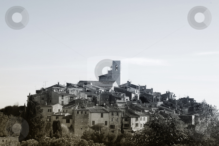 St Paul #35 stock photo, The small hilltop town of St Paul,  France - Black and White by Sean Nel