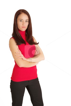 Business Woman #532 stock photo, Portrait of a brunette business woman, standing with her arms folded by Sean Nel