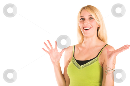 Businesswoman #473 stock photo, Blonde business lady in an informal green top. Hands up, looking Surprised. Copy space by Sean Nel