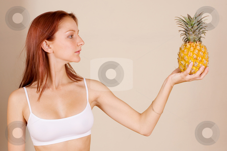 Trudy-Lee Markotter #1 stock photo, Woman holding a pineapple by Sean Nel