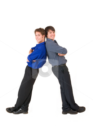 Business People #7 stock photo, Two business partners leaning on each other by Sean Nel