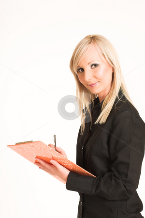 Business Woman #305 stock photo, Blond business woman dressed in black trousers and a black shirt.Standing with file and a pen by Sean Nel