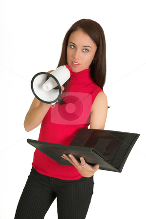Business woman #536 stock photo, Portrait of a brunette business woman, holding a megaphone and a black file by Sean Nel