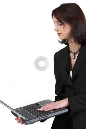 Luzaan Roodt #19 stock photo, Business woman in formal black suit, holding laptop - looking down, copy space by Sean Nel