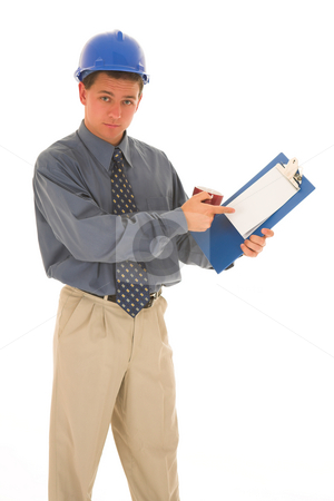 Businessman #105 stock photo, Man is presenting work on paper. by Sean Nel