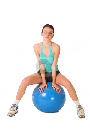Gym #182 stock photo, Woman sitting on gym ball. by Sean Nel