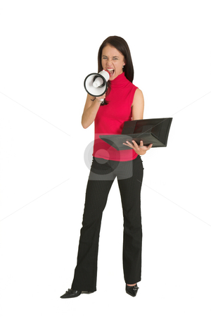 Business Woman #549 stock photo, Portrait of a brunette  woman,, wearing a green top, screaming over a megaphone by Sean Nel