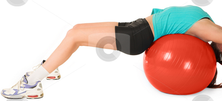 Gym #10 stock photo, A woman in gym clothes, laying on her back on a Pilates ball by Sean Nel