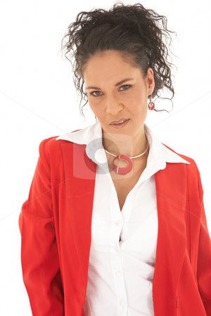 Beautiful Caucasian businesswoman stock photo, Portrait of a beautiful young Caucasian businesswoman with curly hair in an updo hairstyle wearing red suit on white background. NOT ISOLATED by Sean Nel