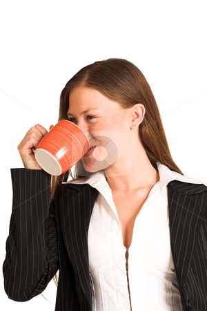 Business Woman #214(GS) stock photo, Business woman dressed in pinstripe suit and white shirt, drinking out of a cup by Sean Nel
