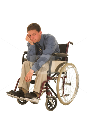 Businessman #119 stock photo, Man sitting in wheelchair. by Sean Nel