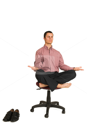 Business Yoga #184 stock photo, Business man fighting tension / relaxing / meditating by Sean Nel