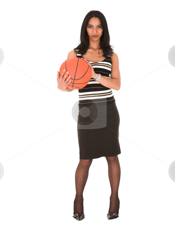 Young adult businesswoman stock photo, Beautiful young adult Indian businesswoman with dark skin and dark straight long hair, brown eyes and pink lips, wearing a black pencil skirt and striped top with stockings and black stilettos holding a basketball by Sean Nel