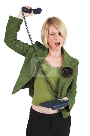 Businesswoman #41 stock photo, Upset business woman in green suite with phone by Sean Nel