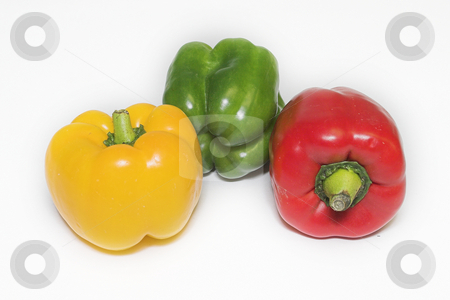 Peppers #7 stock photo, Red Pepper, green pepper, yellow pepper by Sean Nel