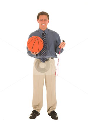 Business man #13 stock photo, Man in a suit with a whistle and basked ball. by Sean Nel