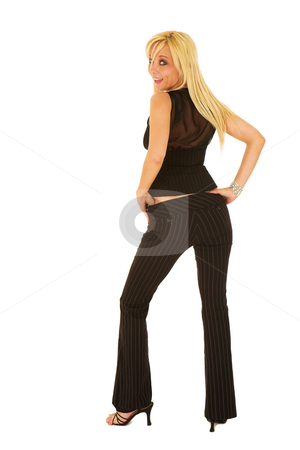 Business Woman in black #125 stock photo, Blond business woman in a black business suit by Sean Nel