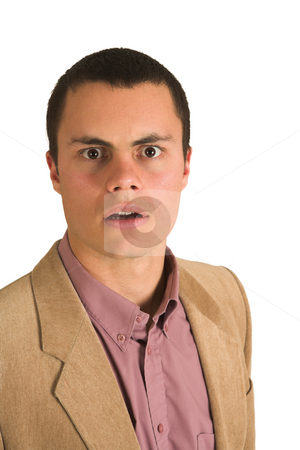 Flabbergasted businessman stock photo, Businessman in a pink shirt and camel coloured jacket, looking surprised with his mouth open. by Sean Nel