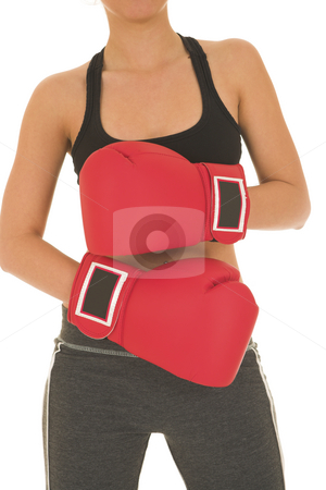 Boxer #10 stock photo, Brunette with red boxing gloves by Sean Nel