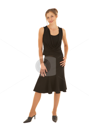 Young adult brunette businesswoman stock photo, Young caucasian brunette businesswoman in a black office clothes on a white background. NOT ISOLATED by Sean Nel