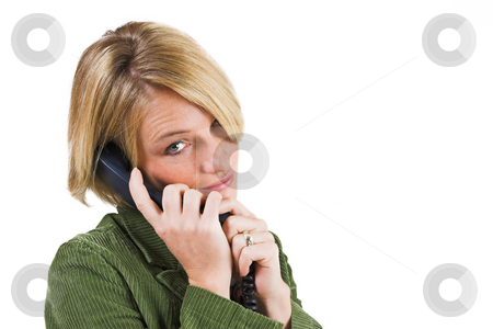 Heidi Booysen #16 stock photo, Business woman green jacket, talking friendly on the phone by Sean Nel