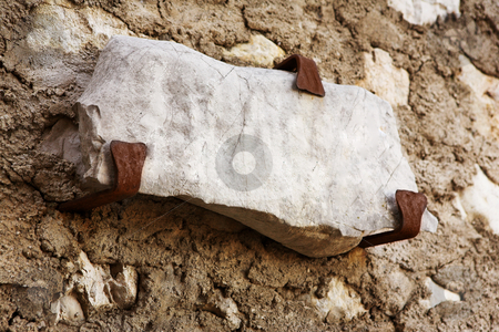 Street sign stock photo, Old street sign carved into rock on the city wall of Saint Paul de Vence, France by Sean Nel