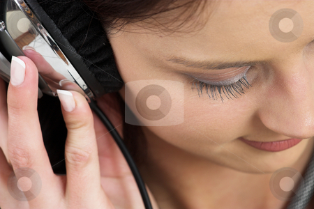 Music #11 stock photo, Woman with earphones by Sean Nel