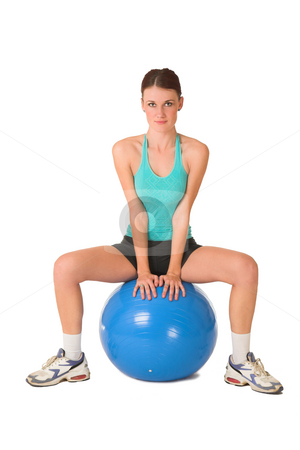 Gym #184 stock photo, Woman in gym wear sitting on blue ball. by Sean Nel