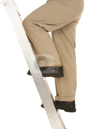 Businessman #32 stock photo, Man climbing the corporate ladder by Sean Nel