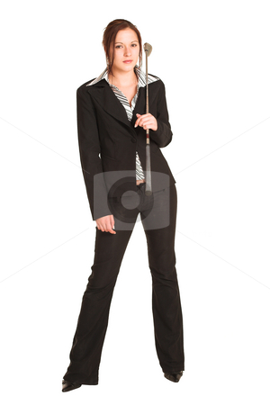 Business Woman #344 stock photo, Business woman with brown hair, dressed in a white shirt with black stripes. Standing, holding a golf putter by Sean Nel