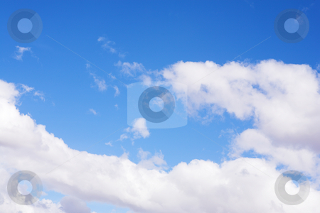 Blue Sky and Clouds #5 stock photo, Blue sky and white puffy clouds - For use as fill in backgrounds in designs and photo retouching by Sean Nel