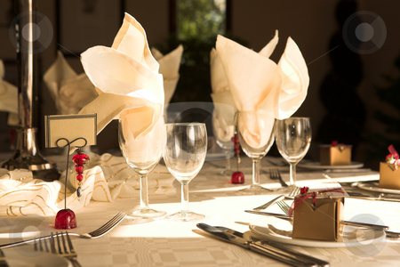 Wedding Reception Table stock photo, Table setting at a wedding reception - Natural Light by Sean Nel