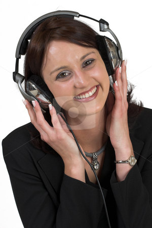 Music #7 stock photo, Woman with earphones by Sean Nel