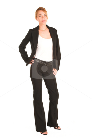 Businesswoman #234 stock photo, Blonde business lady in formal black suit.  Standing, with hand on her hip.  Full body by Sean Nel