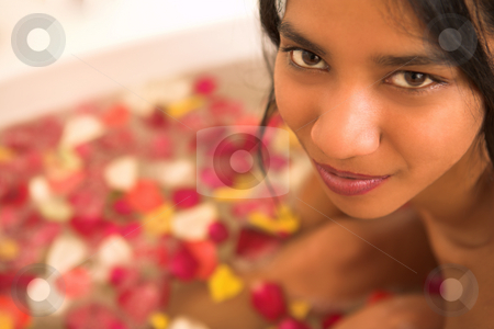Woman #50 stock photo, Nude woman in a bath.  Copy space. by Sean Nel