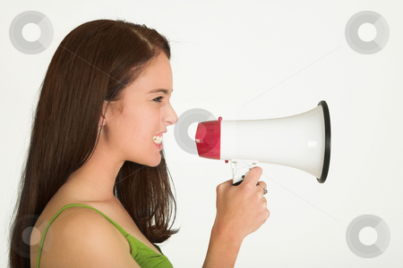 Business woman #545 stock photo, Portrait of a brunette  woman,, wearing a green top, holding a megaphone by Sean Nel