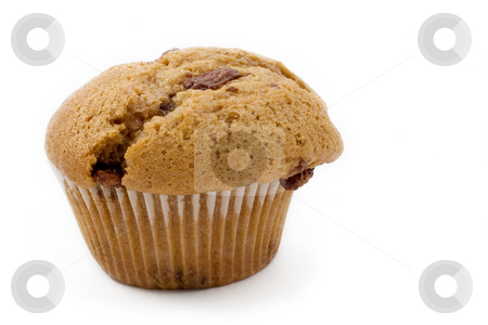 Food #16 stock photo, A single Caramel Chip muffin on a white background - deformed by Sean Nel