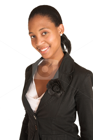 Mida Matsimela #1 stock photo, African business woman dressed in black jacket. by Sean Nel