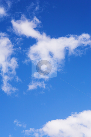 Blue Sky and Clouds #7 stock photo, Blue sky and white puffy clouds - For use as fill in backgrounds in designs and photo retouching by Sean Nel