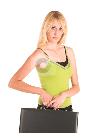 Businesswoman #466 stock photo, Blonde business lady in an informal green top. Holding a black leather suitcase. by Sean Nel