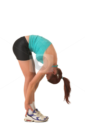 Gym #121 stock photo, Woman streching, bending over. by Sean Nel