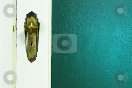 Door #11 stock photo, Door knob and green wall - copy space by Sean Nel